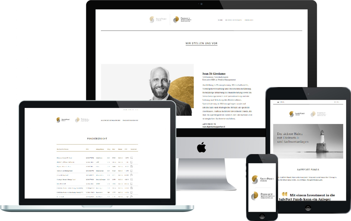 Perfect Management Services AG - Responsive Website, CMS